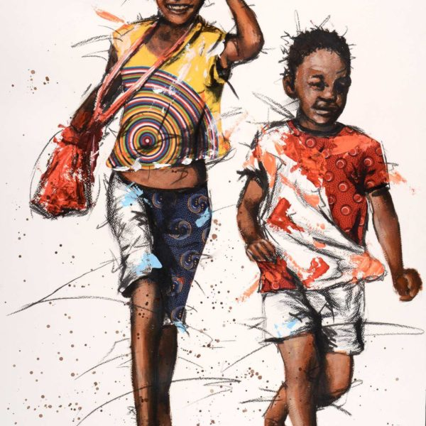 Young African Children running happily