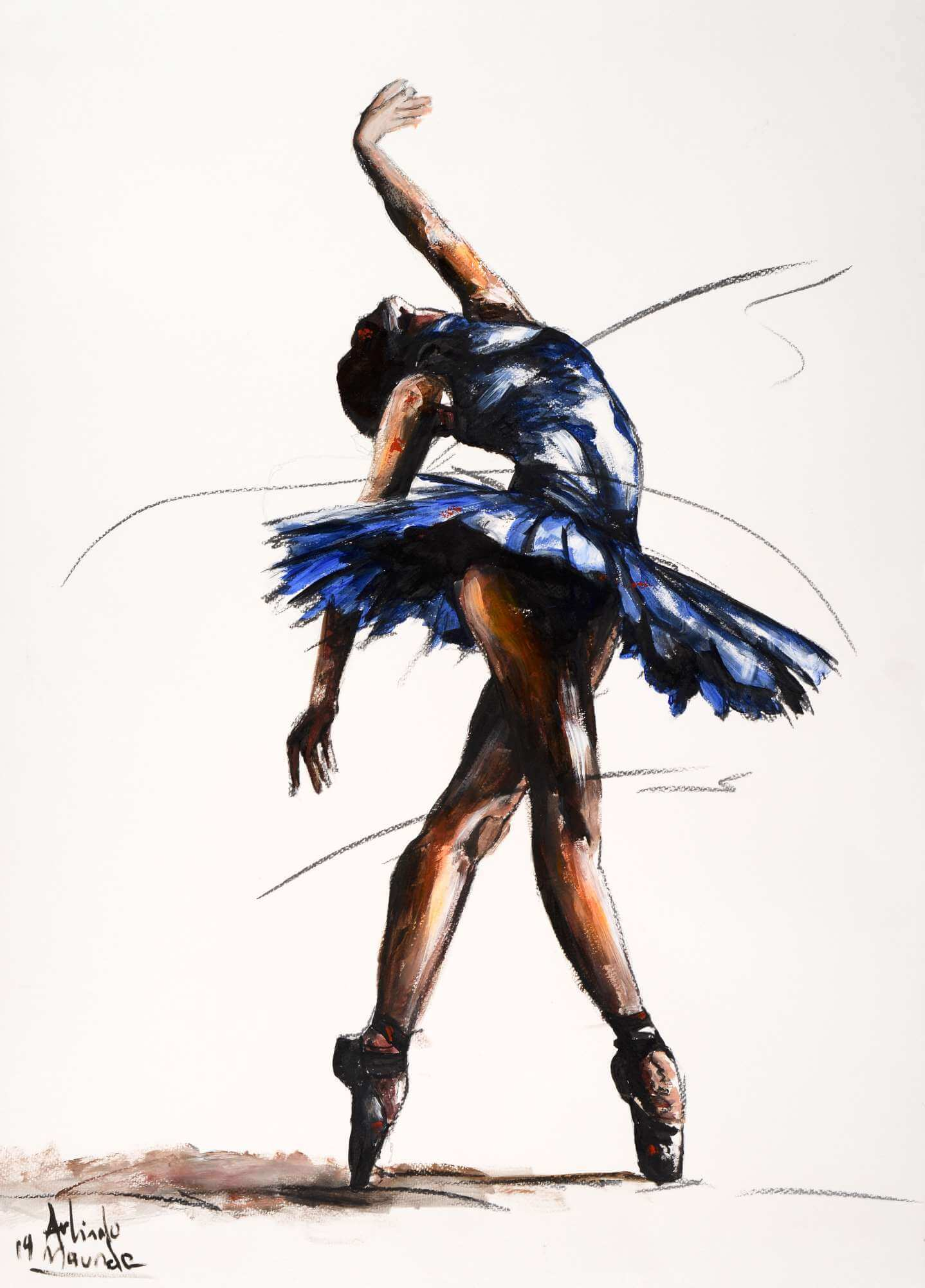 Ballet dancer wearing a blue tutu standing in position on pointed toes