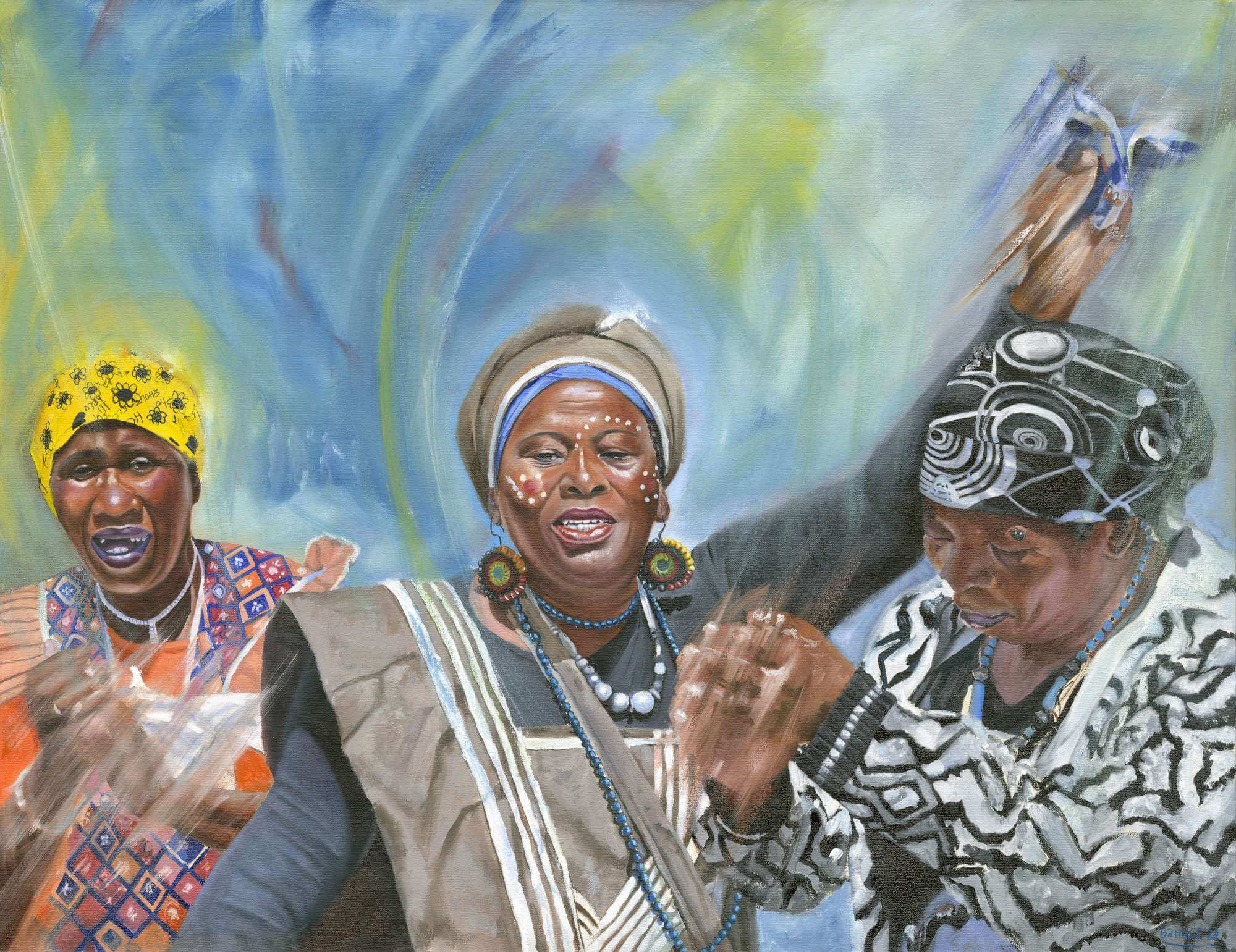 Elderly African women celebrating