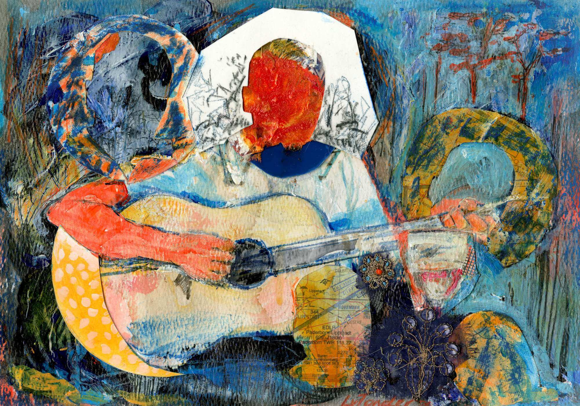 Abstract person playing the guitar in the garden
