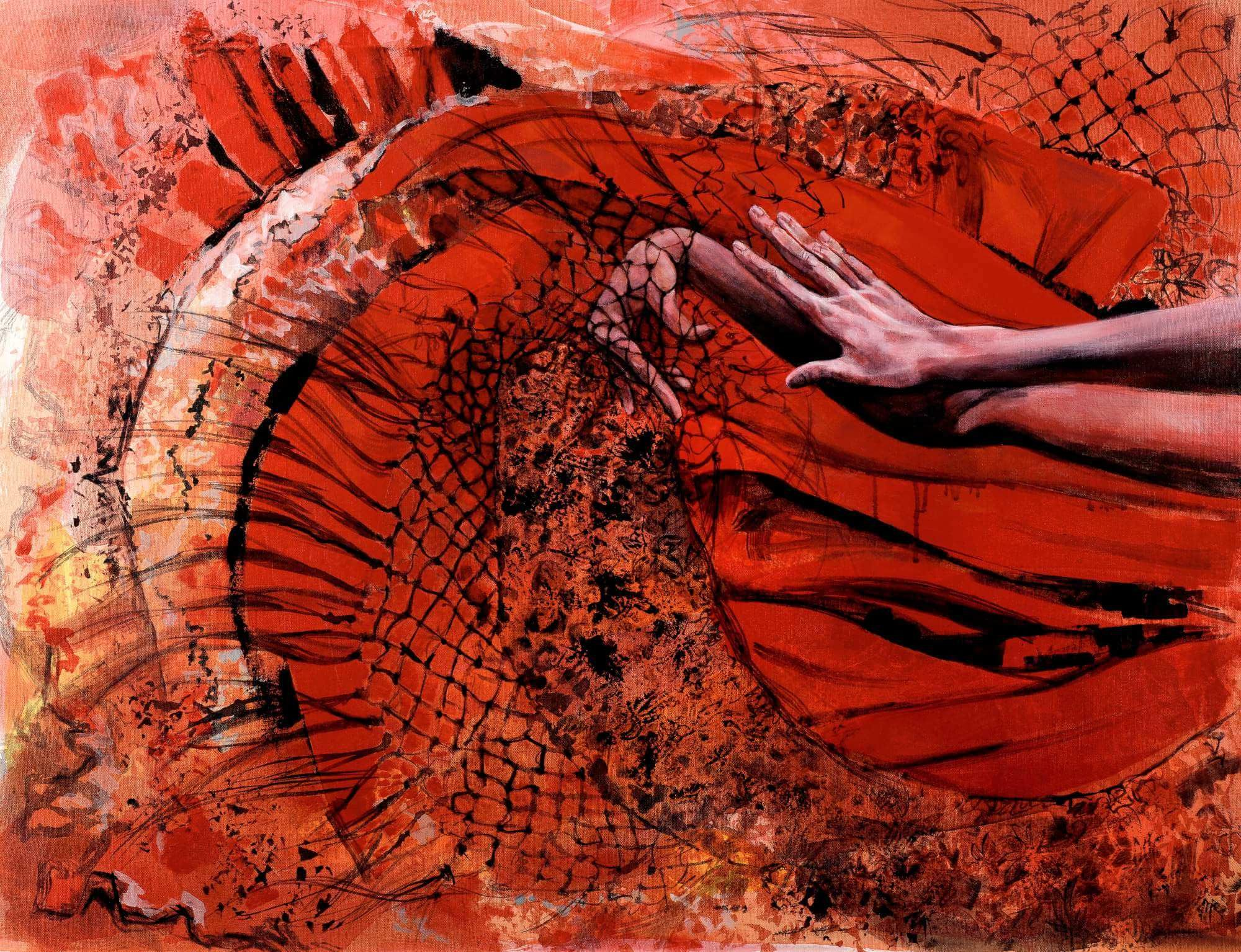 Red fabric surrounding hands entwined in a flamenco dance