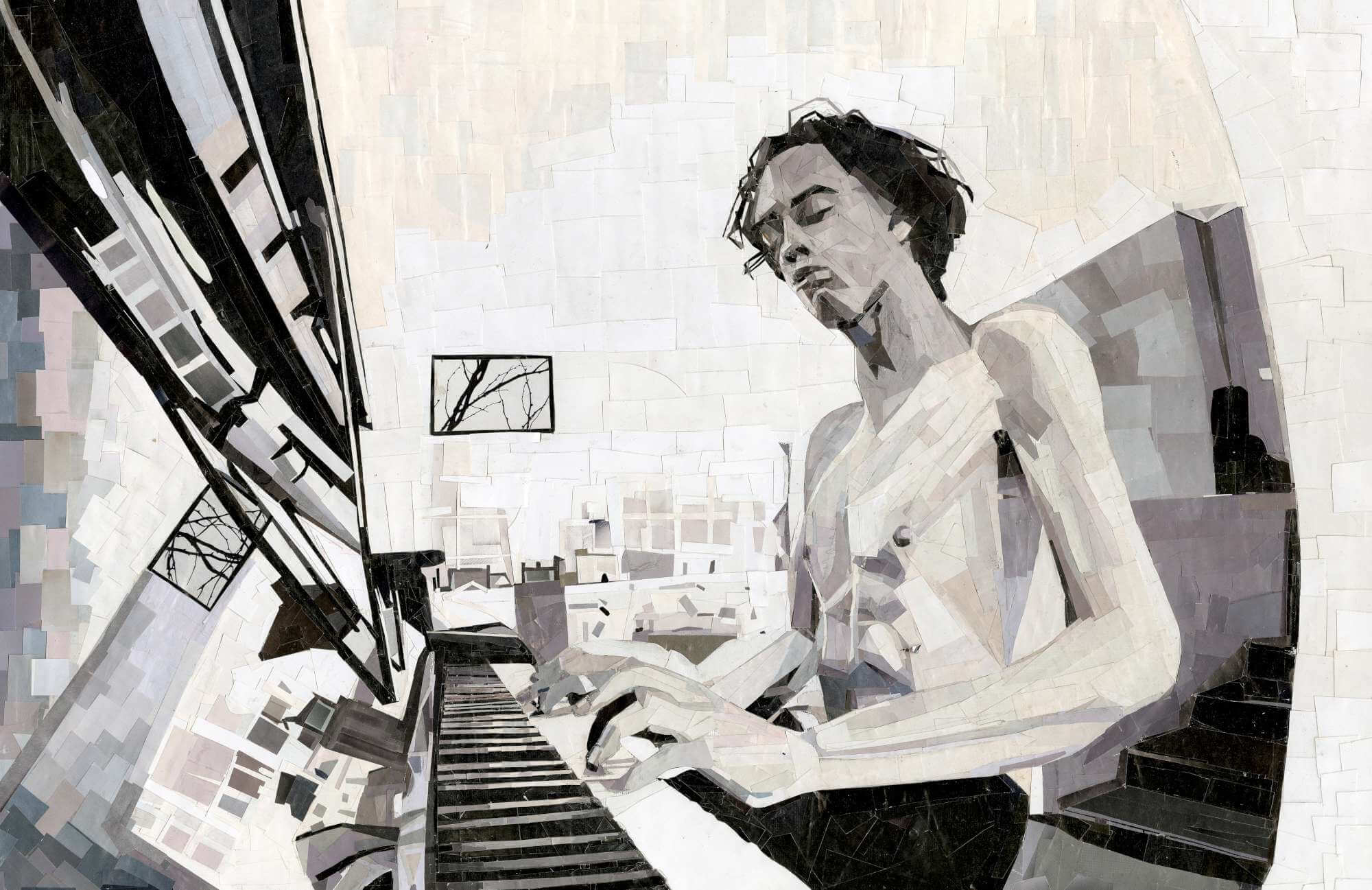 Self portrait of Seth Flaum playing the piano