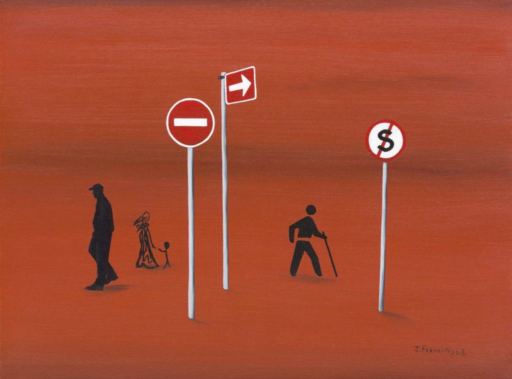 Abstract arrangement of street signs on a red background