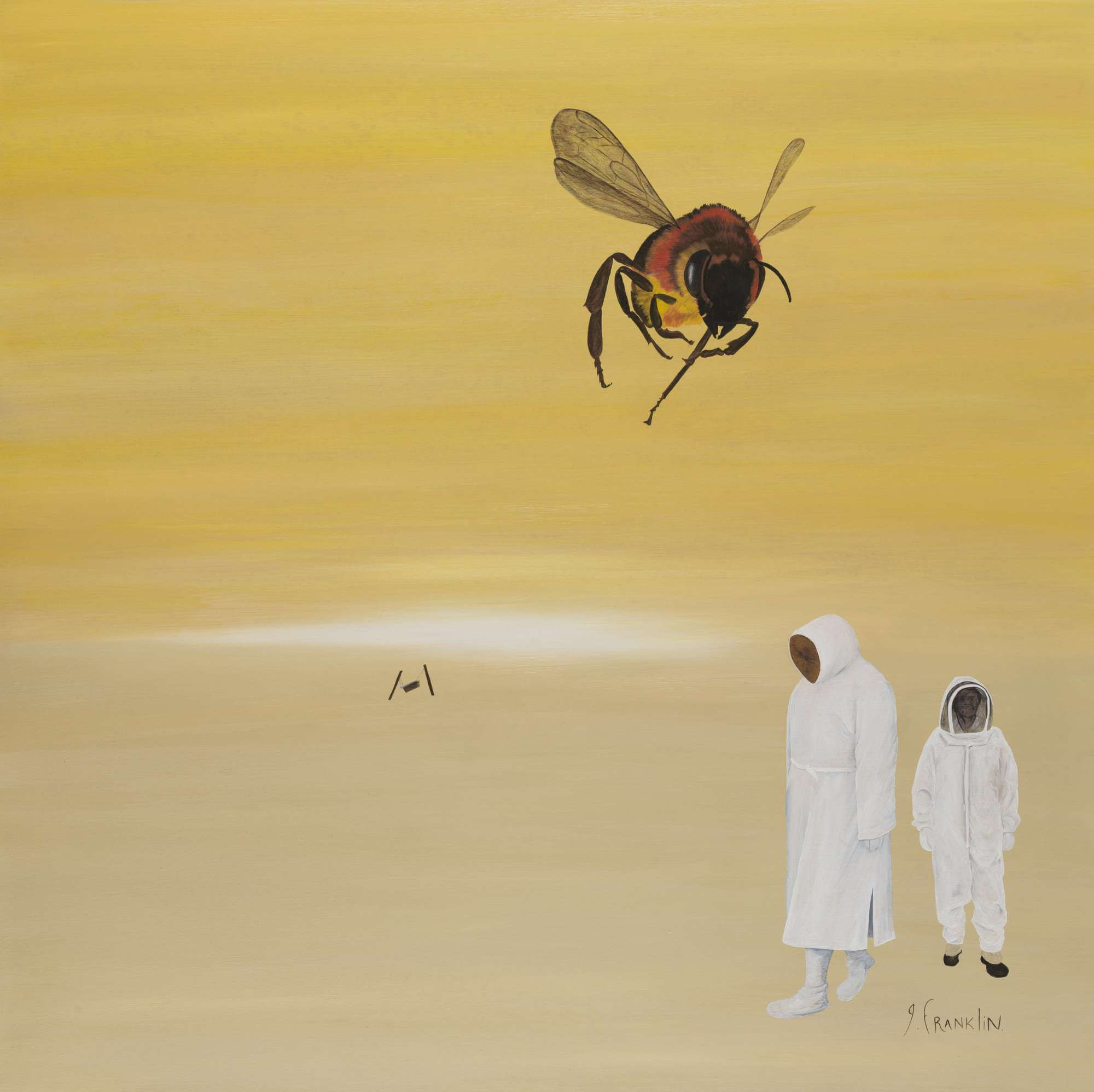 People wearing bee keeper suites in a barren wasteland and a single bee